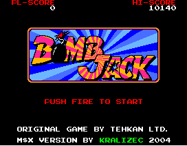 Screenshot: Title screen of Bomb Jack for MSX2